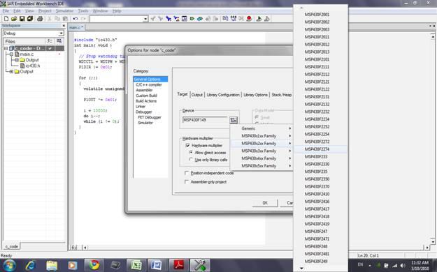 eZ430-RF2480 WSN kit startup tutorial using Assembly Language
