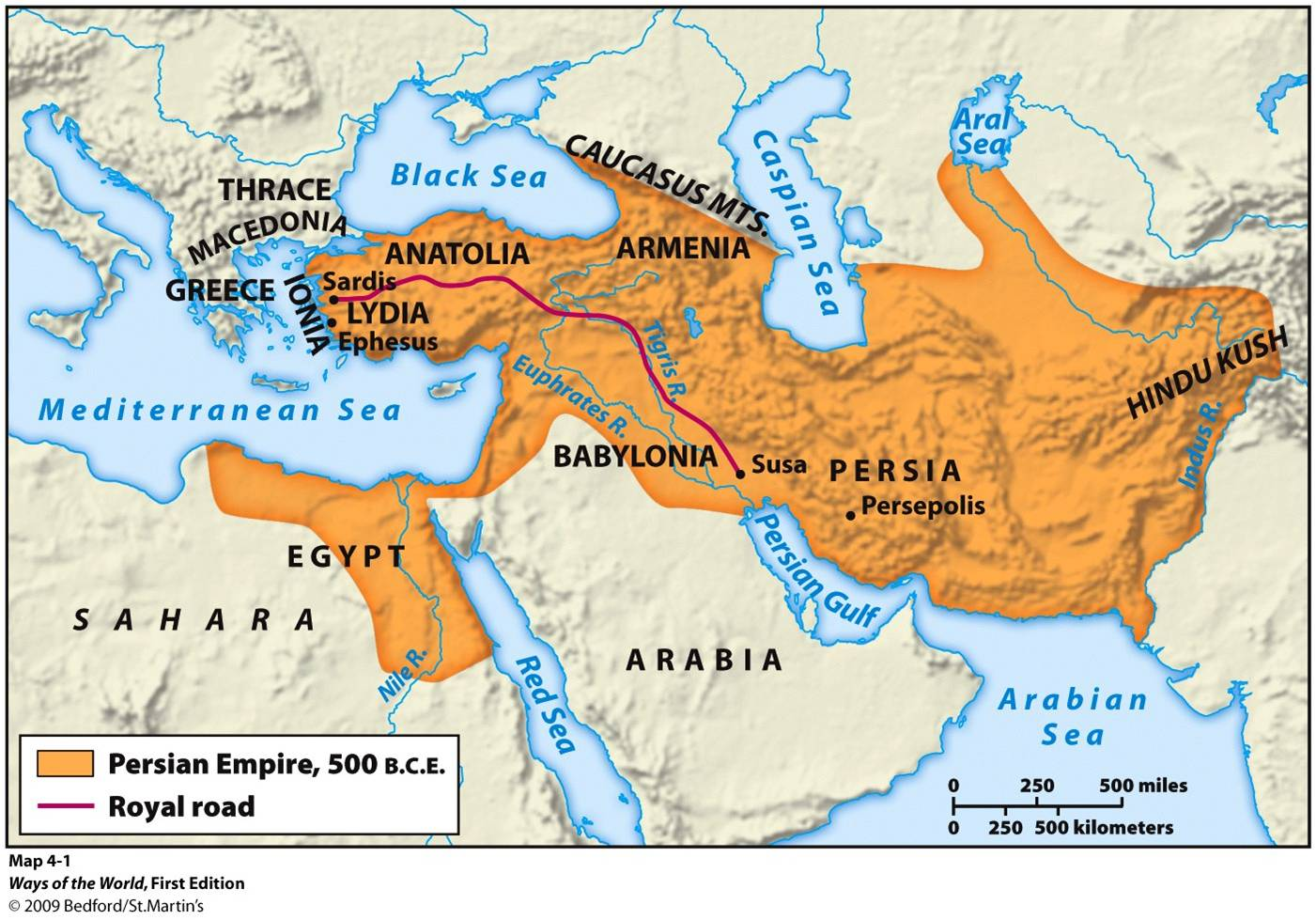 map of the Persian Empire, 500 BC. Mystery of History Volume 1 ...